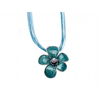 Picture of Turquoise & Silver Floral Enamel Pendant